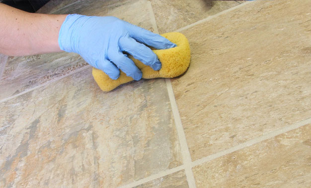sponge sealing grout tiles - Sealing that Grout! A DIY Project