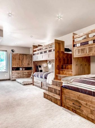 wood grain stained bunk beds with shaker cabinet storage 336x450 - Making Loft & Bunk Bed Storage with RTA Cabinets Part 1