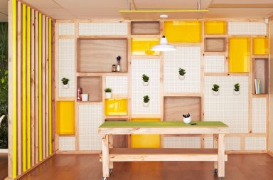 pegboard-yellow-workspace-reclaimed-wood-recycling