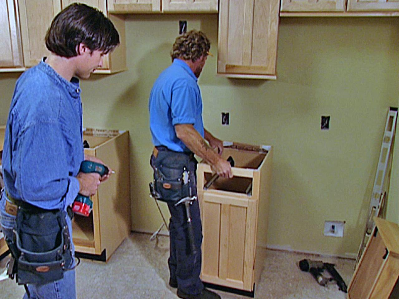 installing lower kitchen cabinets - Installing Your Own Kitchen Cabinets